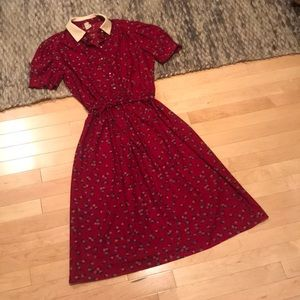 Dresses & Skirts - VINTAGE Red Dress with Florals and Pearl Buttons